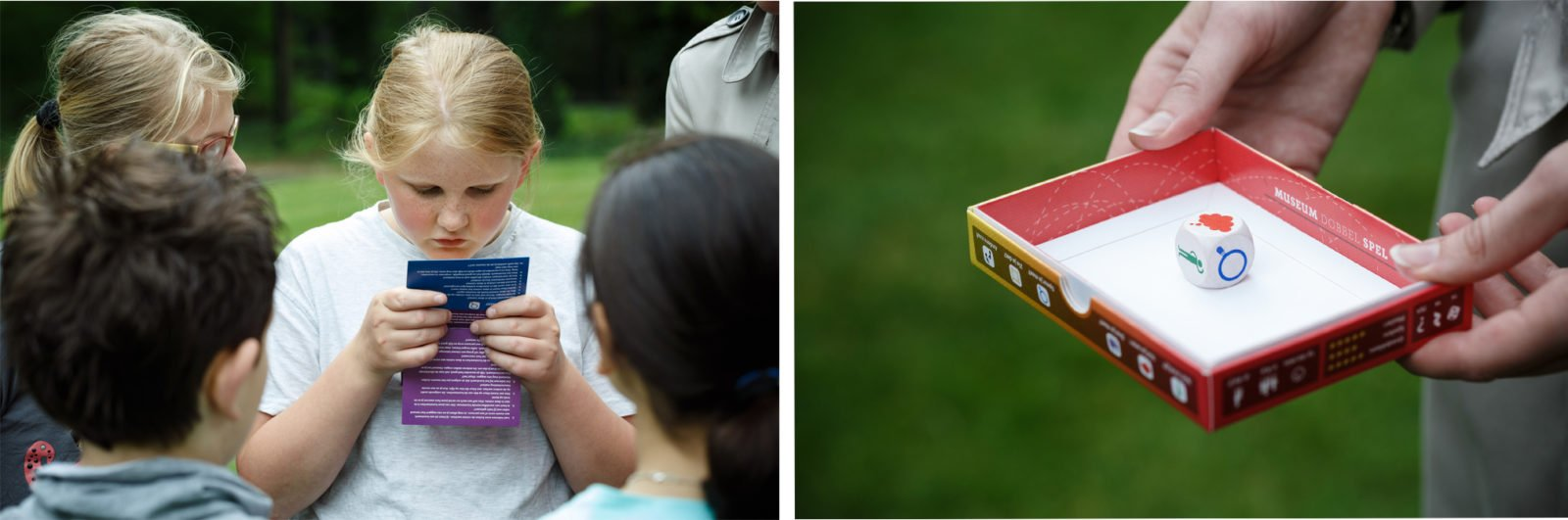 Left: group of kids playing the Museum Dice Game. Right: the box and dice. Photography by Wieneke Hofland.