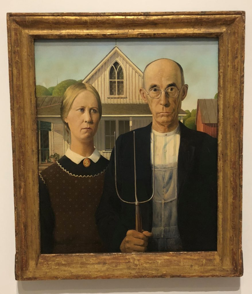 Grant Wood, American Gothic, 1930, detail, Art Institute of Chicago