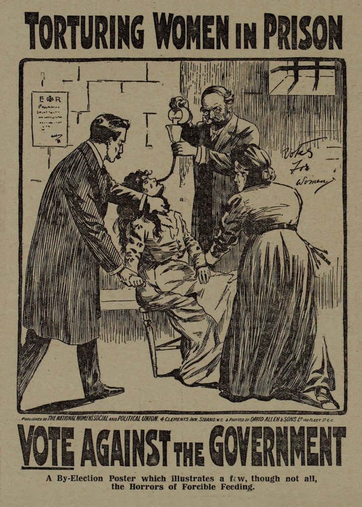 1909 National Library of Scotland. Force feeding of Suffragettes.