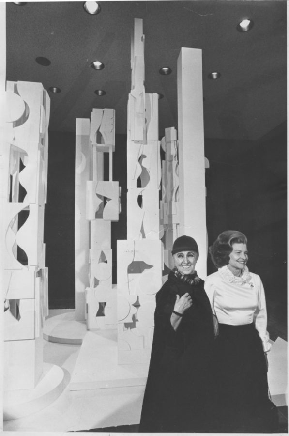 """First Lady Betty Ford and Louise Nevelson standing with """"Bicentennial Dawn"""" (1976) (Artwork © 2016 Estate of Louise Nevelson / Artists Rights Society (ARS), New York, photograph by Al Schell for the Philadelphia Evening Bulletin, louise nevelson's sculptures"""