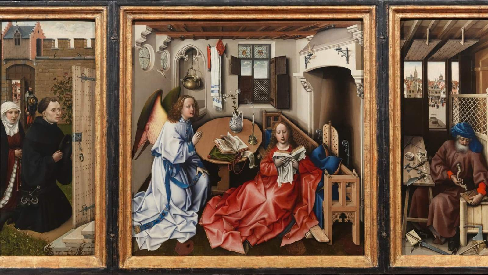 a painting analysis of masaccios holy trinity and campins merode altarpiece Masaccio, holy trinity (article) | khan academy left: masaccio, holy trinity, c 1427, fresco, 667 x 317 cm, santa maria novella, florence right: masaccios holy trinity with the figures labeled masaccio was the first painter in the renaissance to incorporate brunelleschis discovery in his art.