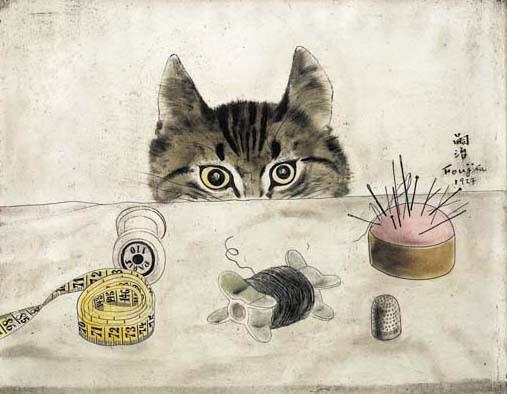 Foujita Cats Couturier Cat by Leonard Tsuguharu