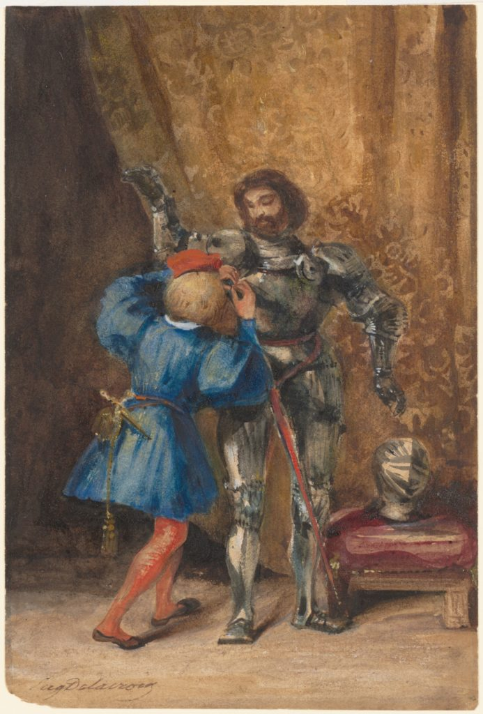 Eugène Delacroix, Goetz von Berlichingen Being Dressed in Armor by His Page George, 1826–27, Gift from the Karen B. Cohen Collection of Eugène Delacroix, in honor of Thomas P. Campbell, 2014, Metropolitan Museum of Art