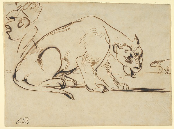 delacroix sketchbooks and drawings Eugène Delacroix, A Lioness and Caricature of Jean Auguste Dominique Ingres, 1850s. Pen and iron gall ink. Gift from Karen B. Cohen Collection of Eugène Delacroix. Photo by Metropolitan Museum of Art.