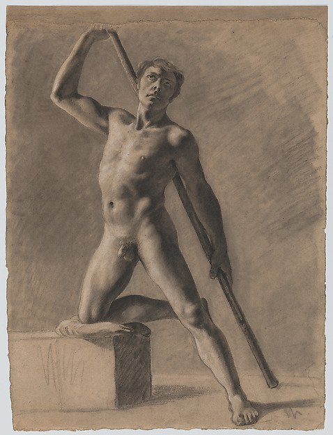 delacroix sketchbooks and drawings Eugène Delacroix, Academic Male Nude with a Staff, 1816-20. Charcoal highlighted with white chalk. Gift from Karen B.