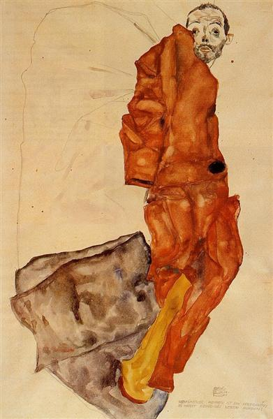 Egon Schiele, Hindering the Artist is a Crime, It is Murdering Life in the Bud, 1912, Private collection, schiele orange obsession