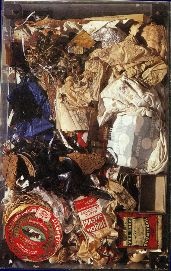 Arman, Petits Déchets Bourgeois, garbage in a box, 60x40x10cm, 1959. Source: theartstack.com