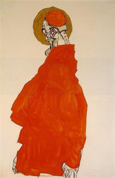 Egon Schiele, Standing Figure with Halo, 1913, private collection, schiele orange obsession