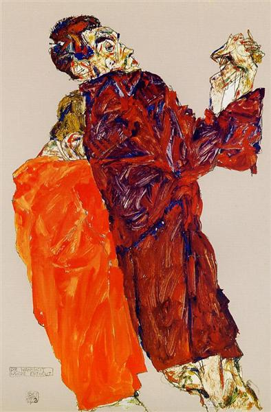 Egon Schiele, The Truth was Revealed, 1913, private collection, schiele's orange obsession