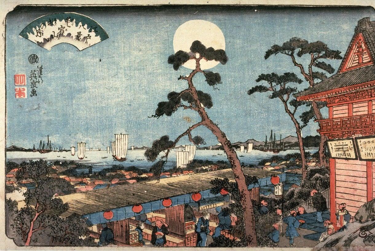 Keisai Eisen, Autumn Moon over Atago Hill (Atagosan no aki no tsuki) rom the series Eight Views of Edo, 1846, source: Wikiart, autumn moon in japanese woodblock prints