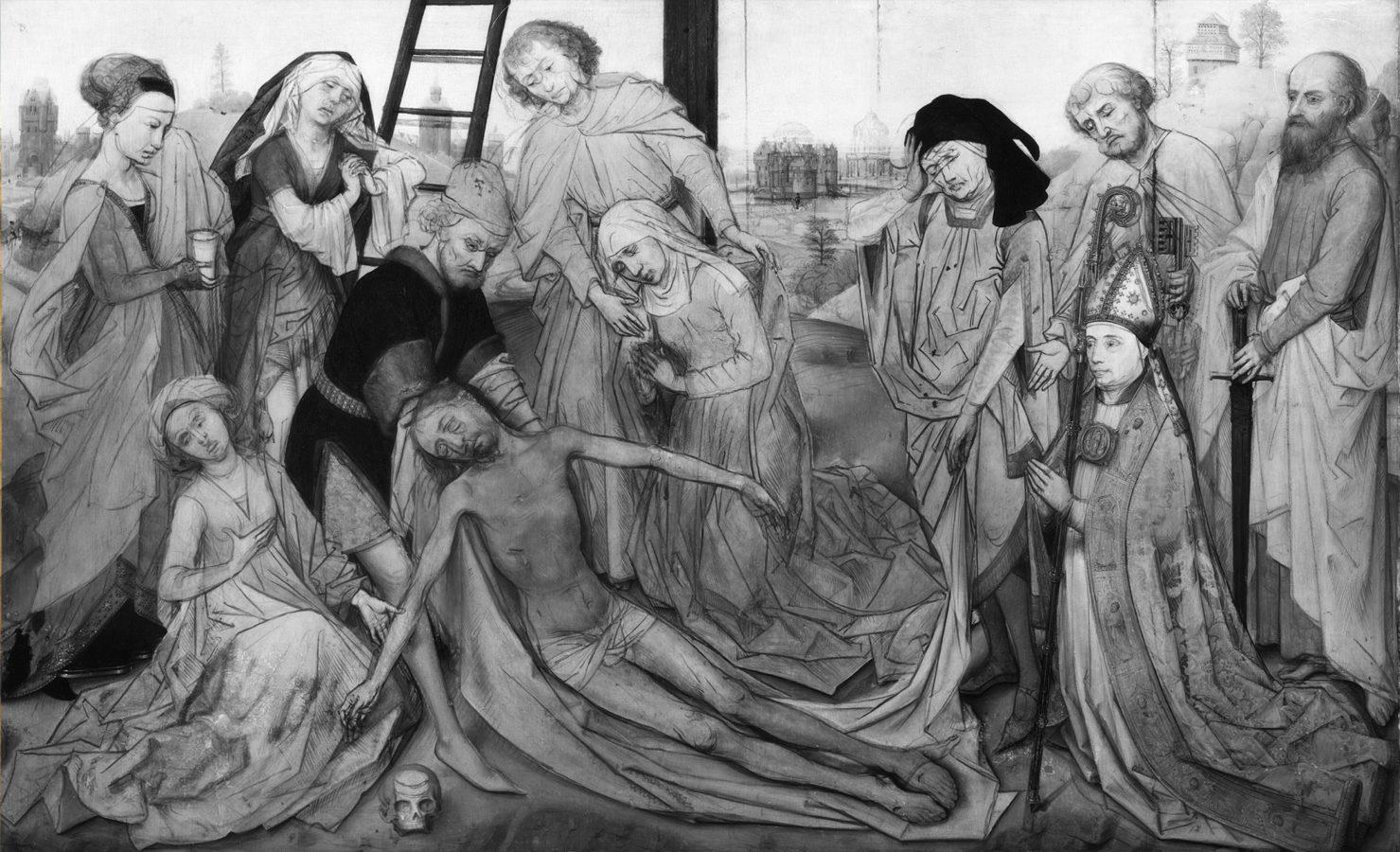 Preparatory underdrawing. Rogier van der Weyden, Lamentation of Christ, 1460-1464, Mauritshuis, rogier van der weyden restored