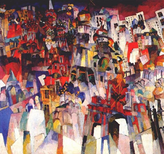 Aristarkh Lentulov, Moscow, 1913, Tretyakov Gallery, Moscow, Aristarkh Lentulov's cubist russia