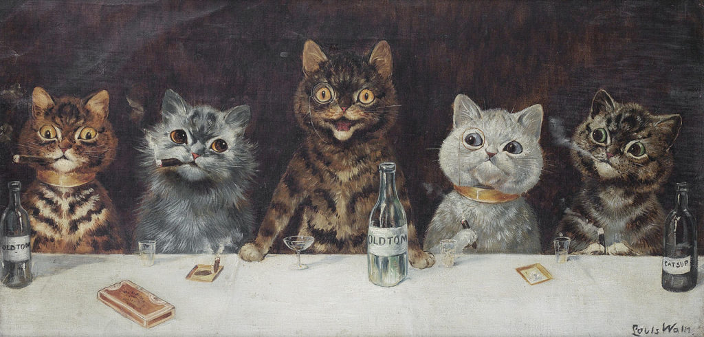 cats in art The bachelor party, Louis Wain, c. 1939, private collection
