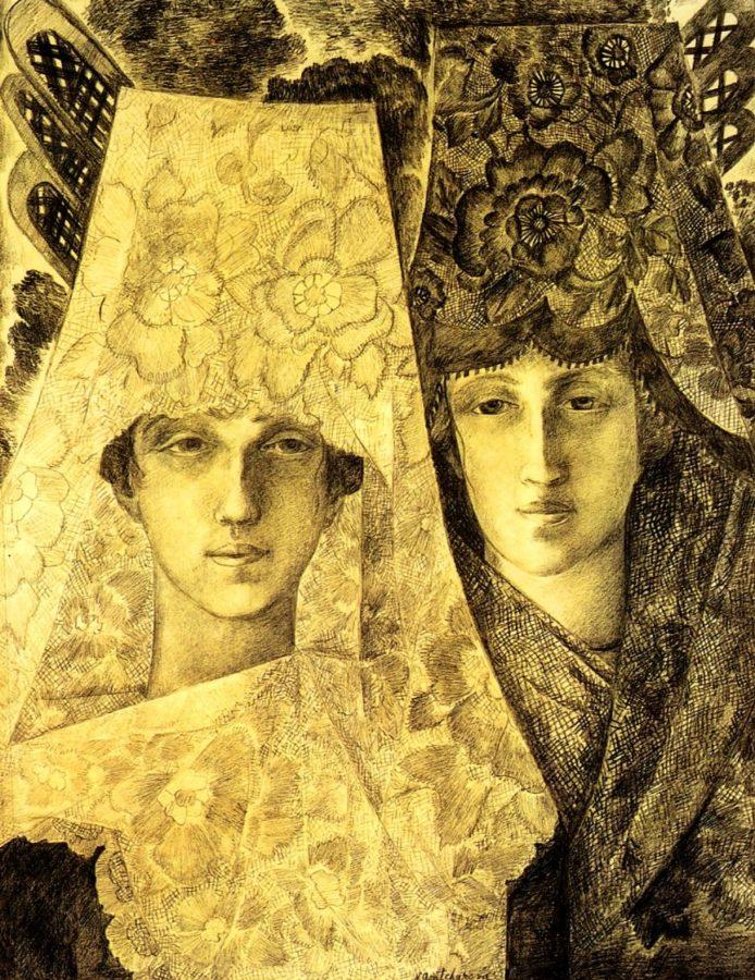 Natalia Goncharova, Spanish Flu, undated, State Tretyakov gallery, Moscow, goncharova and larionov's romance