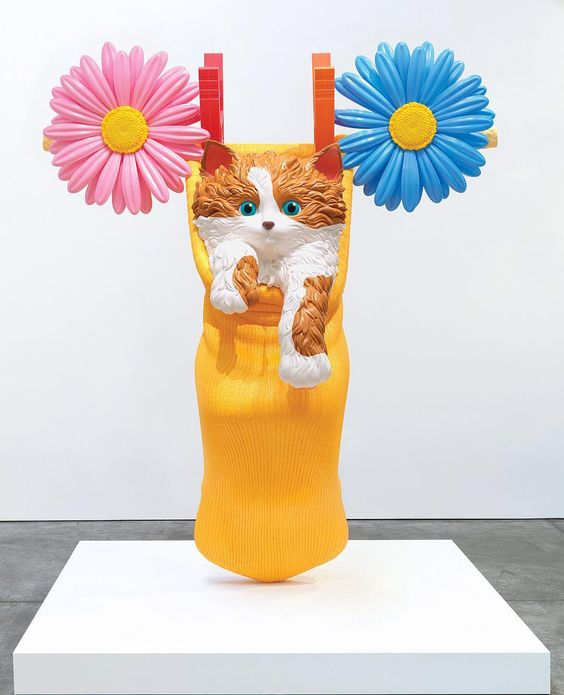 cats in art Jeff Koons, Cat on a Clothesline (Orange), 1994-2001, 1 of 5 unique versions © Jeff Koons Image courtesy of Gagosian Gallery