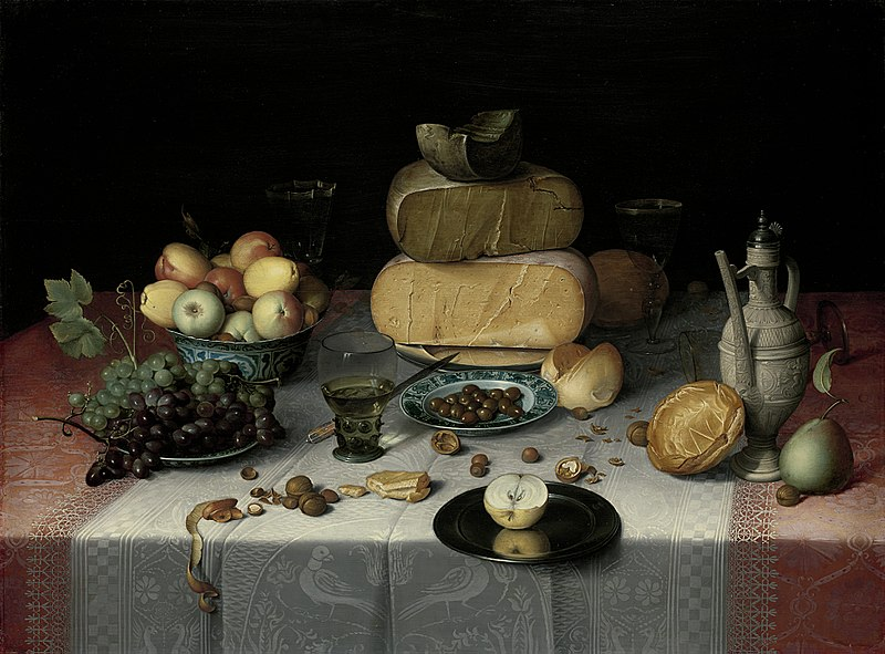 Floris van Dyck, Still Life with Cheeses, c.1615, Rijksmuseum, The Netherlands, cheese in painting