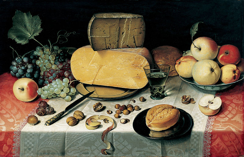 Floris van Dyck, Still Life with Fruit, Nuts and Cheese, 1613, Frans Hals Museum, Haarlem, The Netherlands, cheese in painting