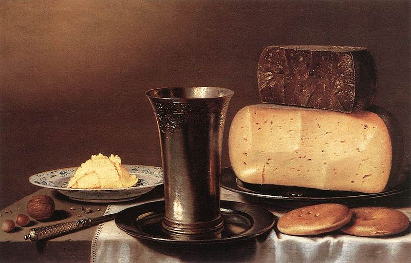 Floris van Schooten (circa 1580/1588–1656) Blue pencil.svg wikidata:Q420055 Floris van Schooten, Still-Life with Glass, Cheese, Butter and Cake, unknown date, private collection, cheese in painting