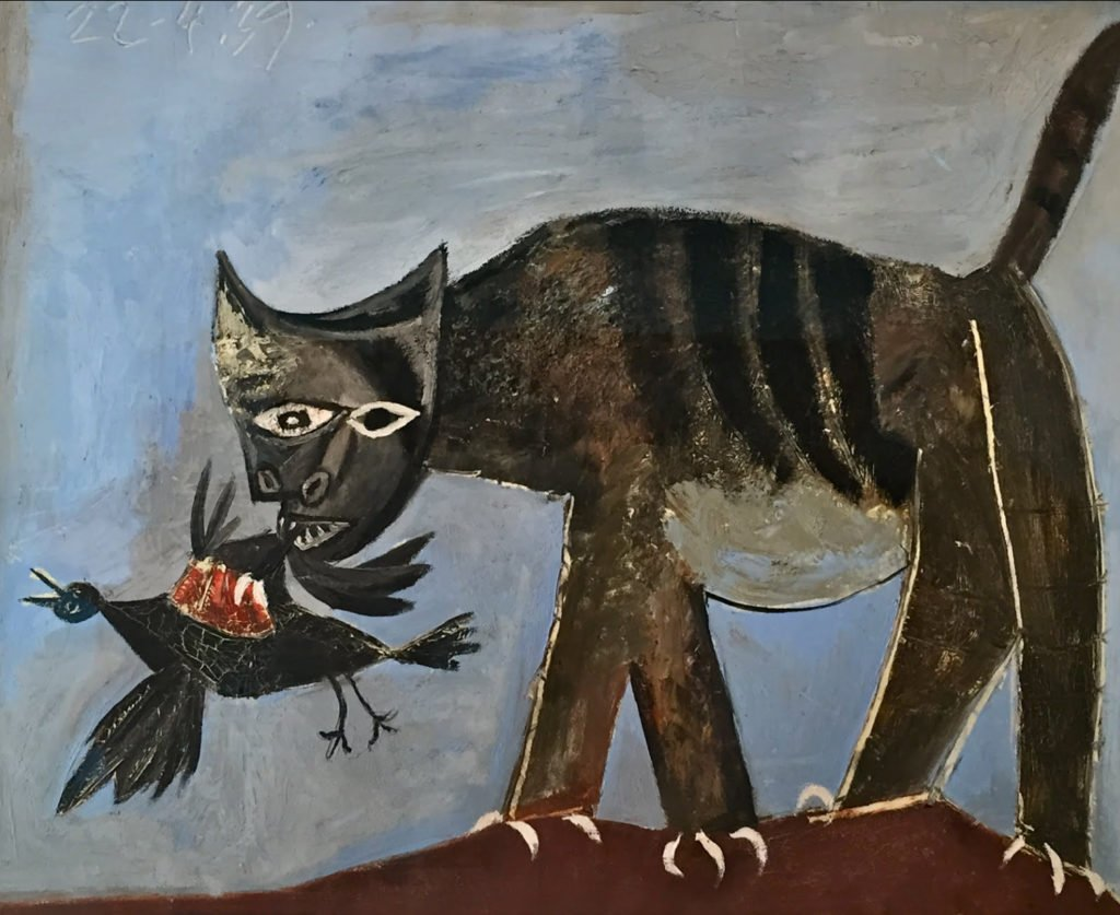 cats in art Pablo Picasso, Cat Catching a Bird, 1939, Musée Picasso, Paris, France