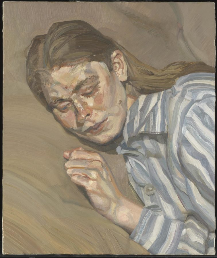 Lucian Freud, Girl in a Striped Nightshirt, 1985, Tate, celia paul and her art in the shadow