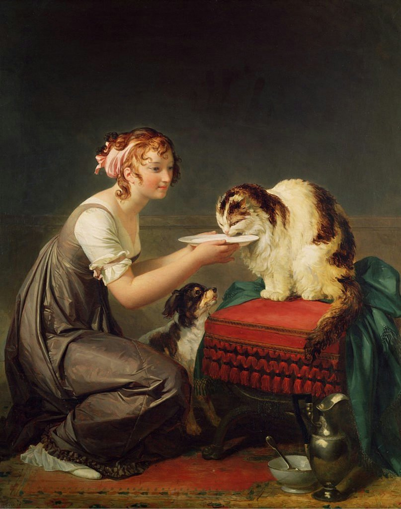 cats in art Marguerite Gérard, The Cat's Lunch or Young Girl Giving Milk to Her Cat, Late 18th century - early 19th century, Villa Musée Fragonard