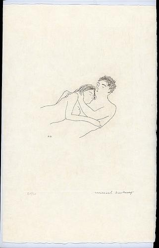 Marcel Duchamp, After love in the series: The Large Glass and Related Works with Nine Etchings by Marcel Duchamp on the Theme of The Lovers,1968, Philadelphia Museum of Art, searching for love in art