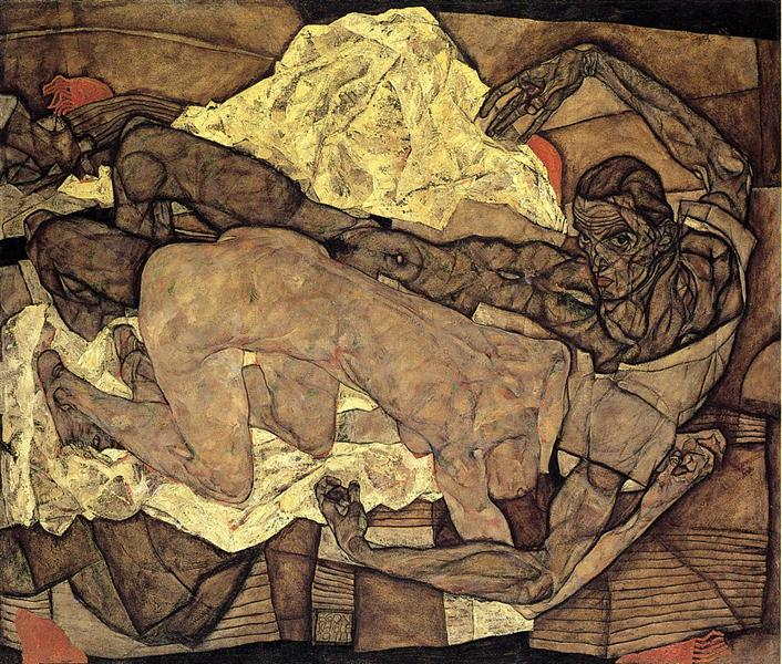 Egon Schiele, Lovers Man and Woman, 1914, private collection, searching for love in art