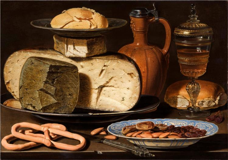 Clara Peeters, Still Life with Cheeses, Almonds and Pretzels, 1615, Mauritshuis, Hague, Netherlands, cheese in painting