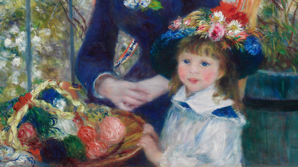 Pierre-Auguste Renoir Two Sisters On the Terrace Pierre-Auguste Renoir Two Sisters (On the Terrace) Pierre-Auguste Renoir, Two Sisters (On the Terrace), 1881, Art Institute of Chicago, detail