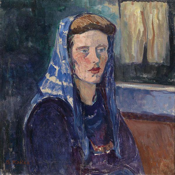 Broncia Koller, Frau mit blauem Kopftuch, 1934, source: Dorothea, unknown women artists