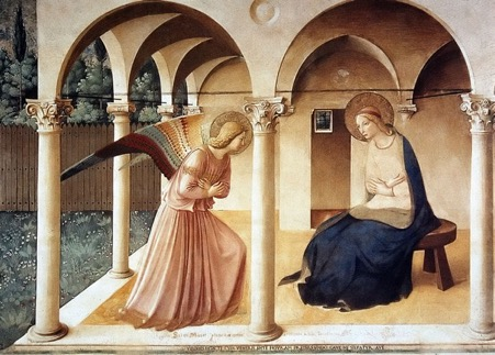 Annunciation (Fra Angelico, San Marco), c1450; Medici. Rich Sinners
