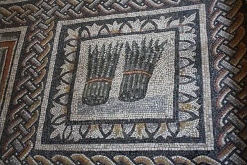 Asparagus in art Roman mosaic