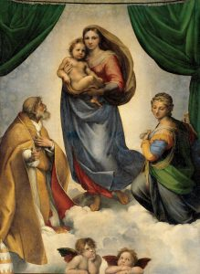 The most expensive painting of all times. Raphael Santi, Sistine Madonna, 1513, Gemäldegalerie Alter Meister Dresden