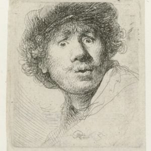 Rembrandt van Rijn, Self-portrait with beret, wide-eyed, 1630, Rijksmuseum