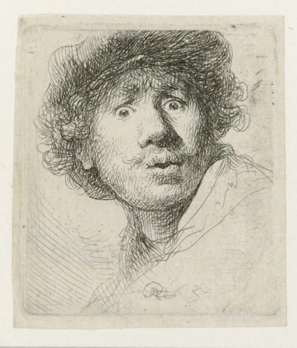 Rembrandt van Rijn, Self-portrait with beret, wide-eyed, 1630, Rijksmuseum Rembrandt's self-portraits