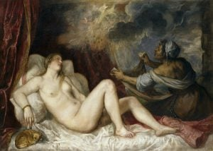 Danaë with Nursemaid or Danaë Receiving the Golden Rain, 1553–1554, Museo del Prado, Madrid. Danae and Zeus as a golden rain.