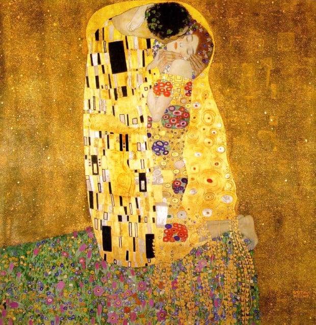 Gustav Klimt, The Kiss (Lovers), 1907-1908, Österreichische Galerie Belvedere, Vienna, Austria.