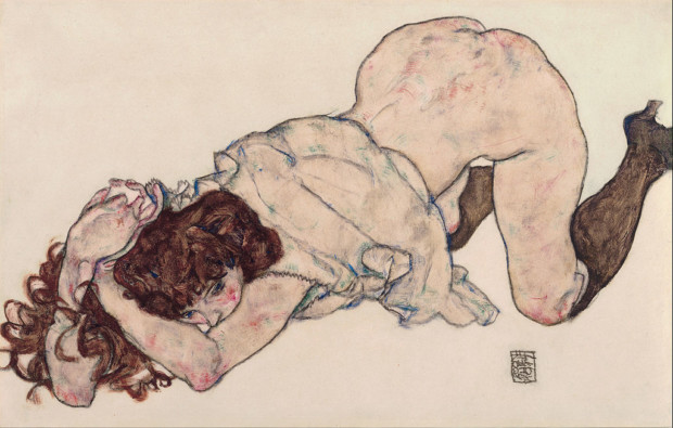 Egon Schiele, Kneeling Girl, Resting on Both Elbows, 1917, Leopold Museum