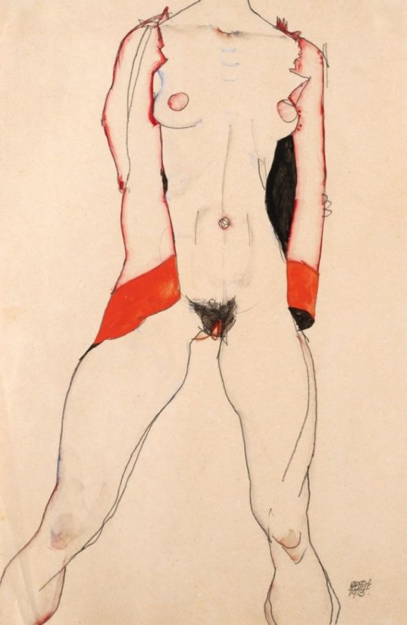 Standing Nude in Red Jacket (1913) by Egon Schiele (Private Collection
