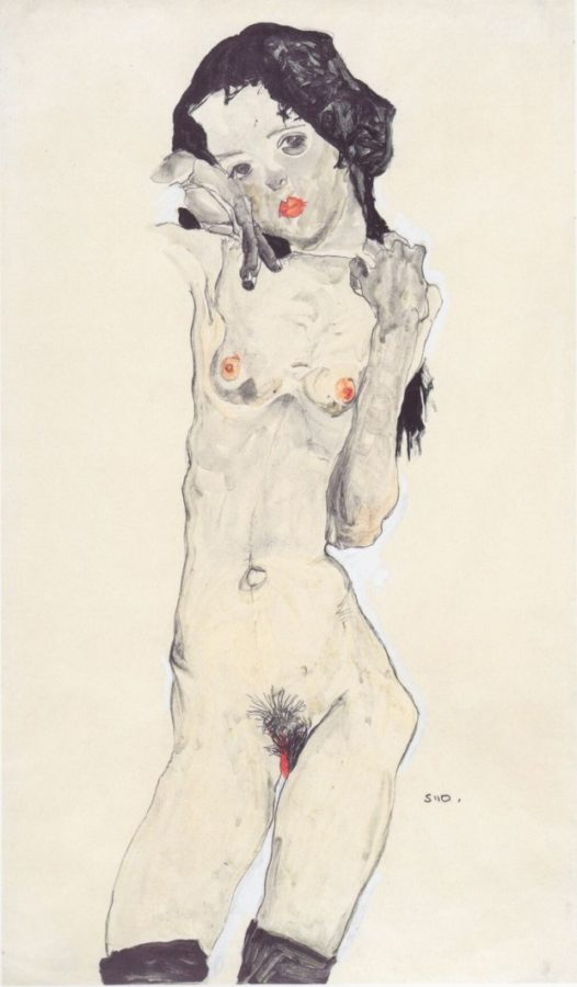 Black-Haired-Nude-Girl-Standing-Egon-Schiele-1910, Courtauld Gallery
