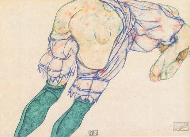 640px-Egon_Schiele_-_Mädchen_mit_grünen_Strümpfen_-_1914, private collection