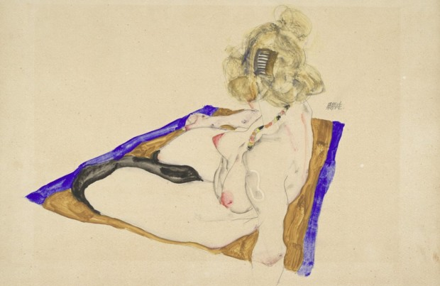 Blonde_Nude_Model_Sitting_on_Brownish-Blue_Cloth_1912_Kallir_D._1086_Albertina