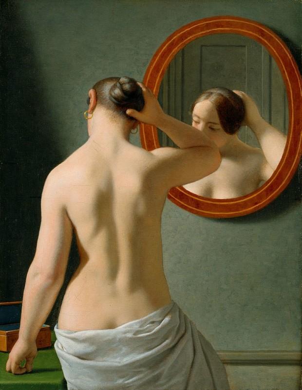Christoffer Wilhelm Eckersberg, A nude woman doing her hair before a mirror, 1841, Den Hirschsprungske Samling