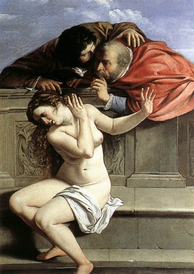 Artemisia Gentileschi, Susanna and the Elders, 1610, Schönborn Collection, Pommersfelden, DailyArtDaily.com