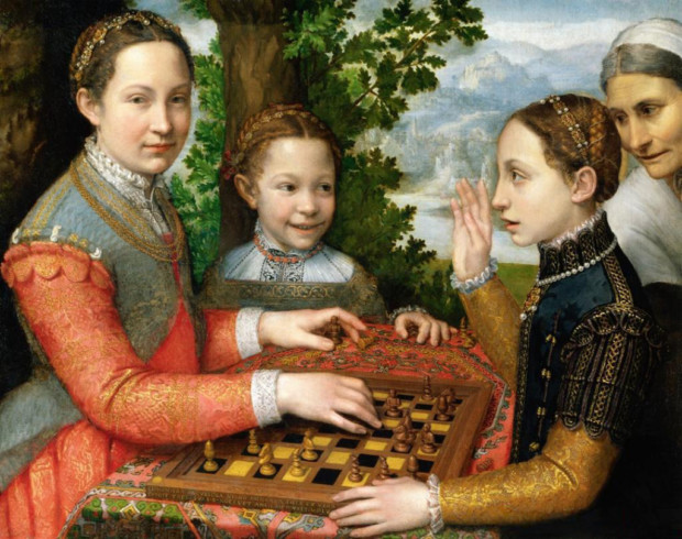 Sofonisba ANguissola, Lucia, Minerva and Europa Anguissola Playing Chess, 1555, National Museum, Poznań