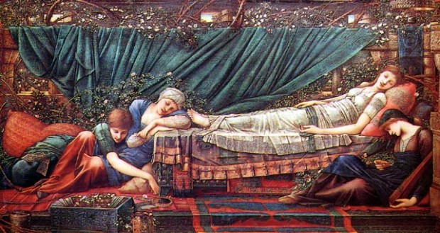 Edward Burne-Jones, Sleeping Beauty The Rose Bower from the Legend of Briar Ros, 1885-1890, Buscot Park in Oxfordshire, England