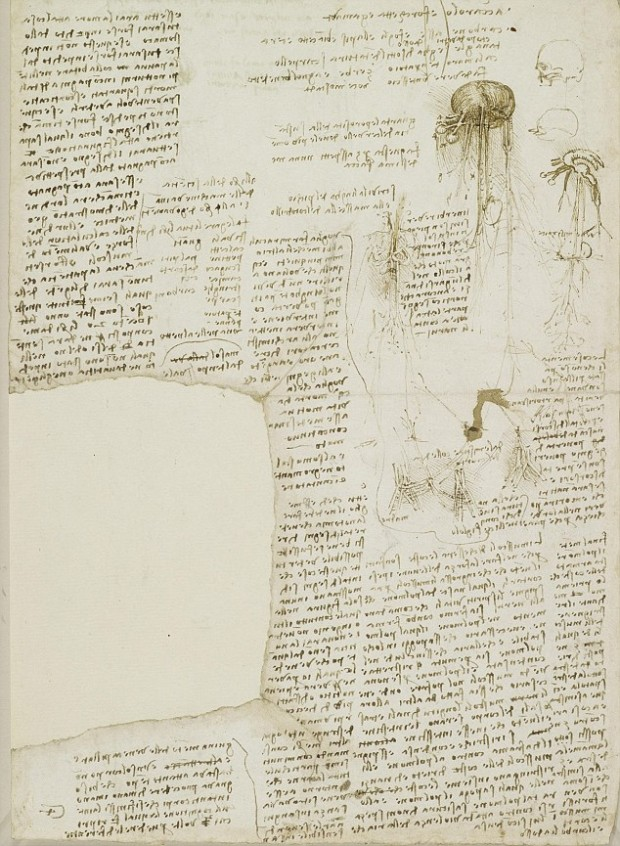Royal Collection handout photo dated circa 1510 of page from Leonardo da Vinci's notebook