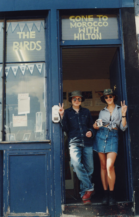 Tracey Emin and Sarah Lucas outside The Shop, 1993, photograph by Carl Freedman.