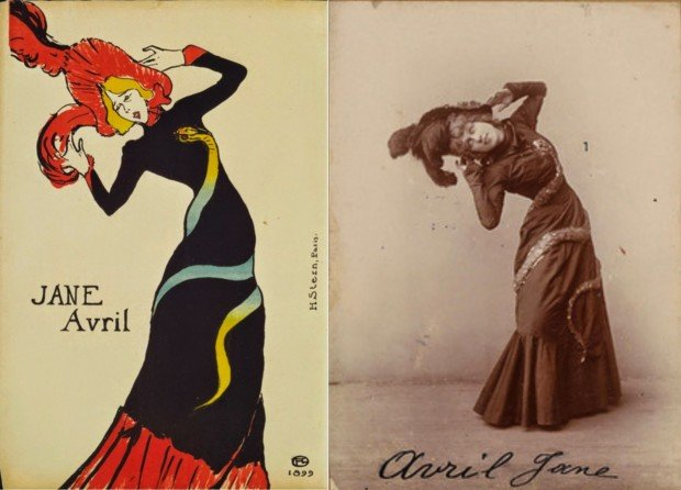 Jane Avril by Henri Toulouse-Lautrec on the left and on the photo by Maurice Biais