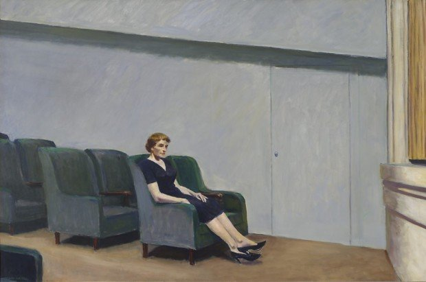 Theater Hopper, Edward Hopper, Intermission, 1963, San Francisco Museum of Modern Art, San Francisco. CA, USA. Wikiart.
